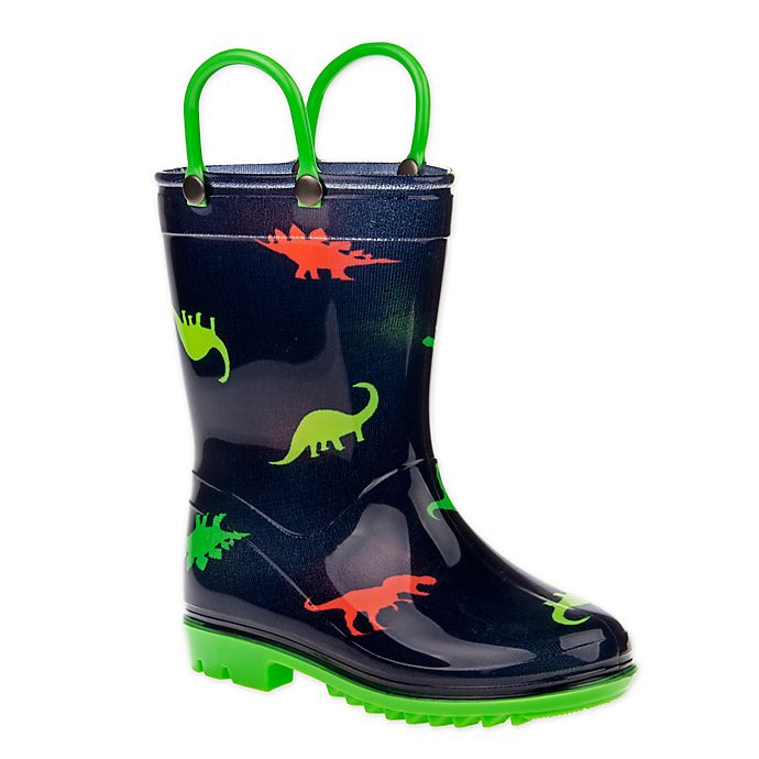Alternate image 1 for Josmo Shoes Size 2-3 Dino Rain Boot in Navy/Green