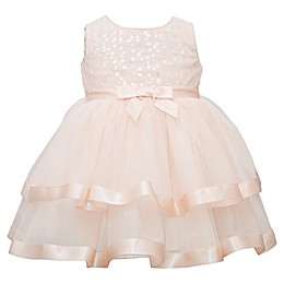 Bonnie Baby Bow Front Tiered Dress in Blush