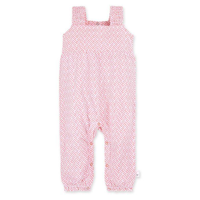 Alternate image 1 for Burt's Bees Baby® Chevron Organic Cotton Sleeveless Jumpsuit in Peach