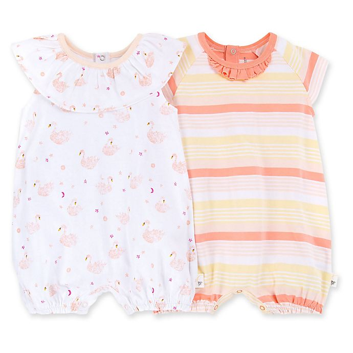 Alternate image 1 for Burt's Bees Baby® 2-Pack Graceful Swan Organic Cotton Bubble Rompers