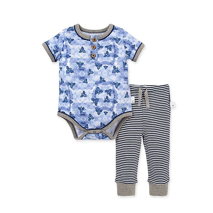 Alternate image 1 for Burt's Bees Baby® 2-Piece Storm Bee Bodysuit and Pant Set in Ocean Blue