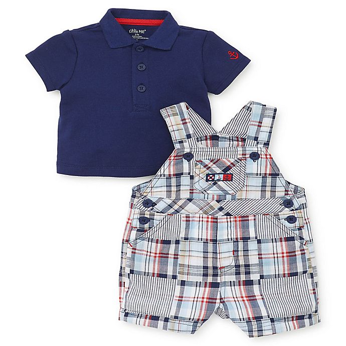 Alternate image 1 for Little Me® 2-Piece Collared Shirt and Madras Plaid Shortall Set