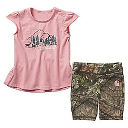 Carhartt® 2-Piece Top and Short Set in Pink/Camo