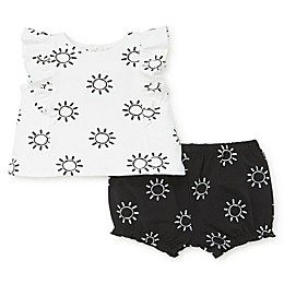 Focus Kids™ 2-Piece Sun Ruffle Top and Short Set in White/Black