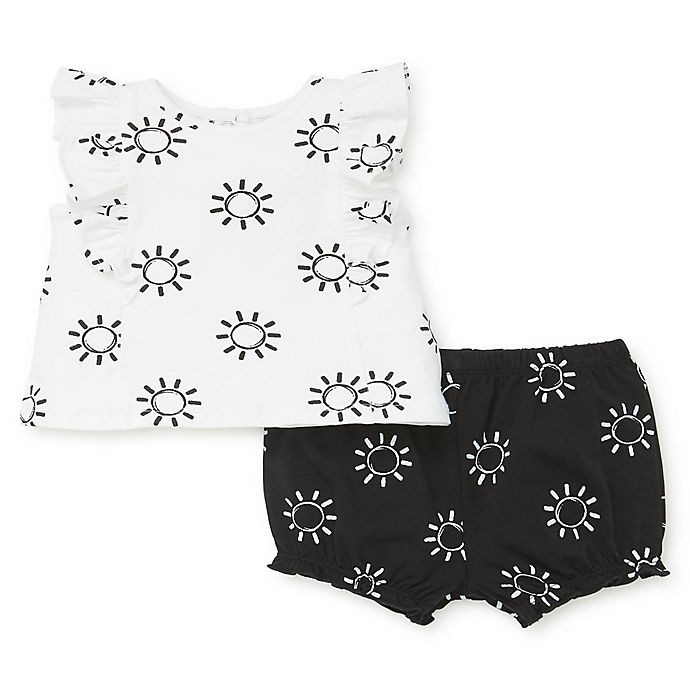 Alternate image 1 for Focus Kids™ 2-Piece Sun Ruffle Top and Short Set in White/Black