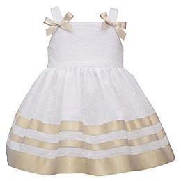 Bonnie Baby Sleeveless Ribbon Dot Dress in Gold/White