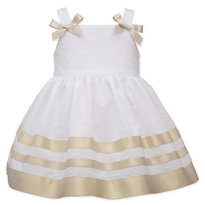 Alternate image 1 for Bonnie Baby Sleeveless Ribbon Dot Dress in Gold/White