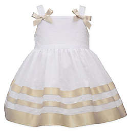 Bonnie Baby Sleeveless Ribbon Dot Dress in Gold/White