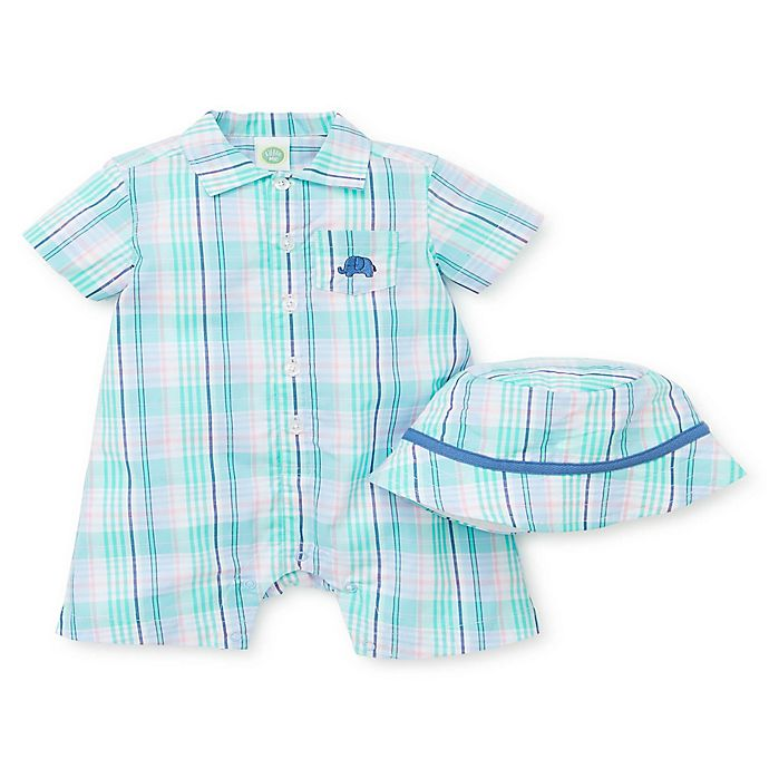 Alternate image 1 for Little Me® 2-Piece Plaid Elephant Romper and Hat Set in Blue