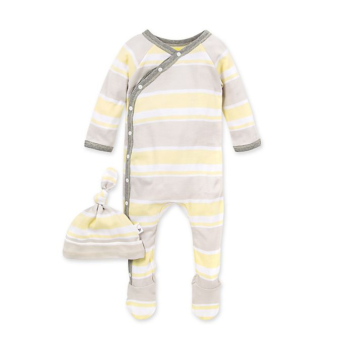 Alternate image 1 for Burt's Bees Baby® 2-Piece Local Stripe Footie and Knot Top Hat in Grey