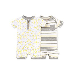 Burt's Bees Baby® 2-Pack Stripes/Triangles Organic Cotton Rompers in Heather Grey
