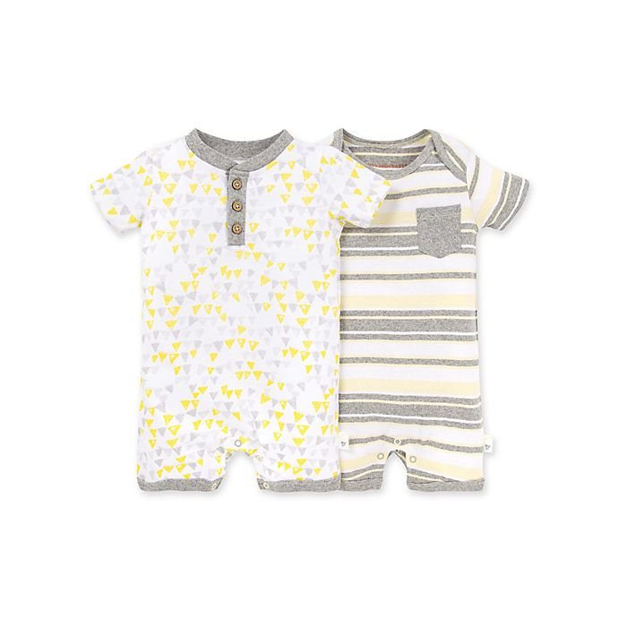 Alternate image 1 for Burt's Bees Baby® 2-Pack Stripes/Triangles Organic Cotton Rompers in Heather Grey
