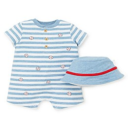 Little Me® 2-Piece Baseball Stripe Romper and Hat Set in White/Blue