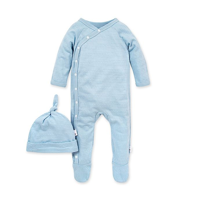 Alternate image 1 for Burt's Bees Baby® 2-Piece Jacquard Stripe Coverall and Knot Top Set in Blue