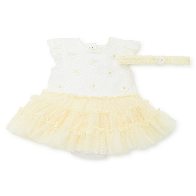Alternate image 1 for Little Me® 2-Piece Daisy Tutu Popover and Headband Set in Yellow
