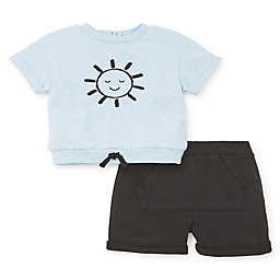 Focus Kids™ Newborn 2-Piece Mr. Sun Short Sleeve Top and Short Set in Black