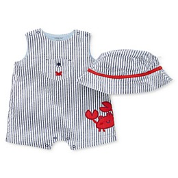 Little Me® 2-Piece Seersucker Crab Romper and Hat Set