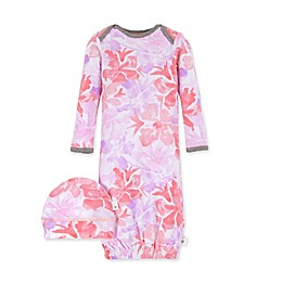 Burt's Bees Baby® 2-Piece Watercolor Floral Organic Cotton Gown and Hat Set in Dawn