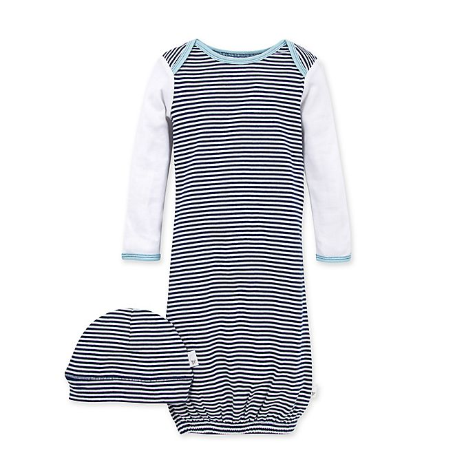Alternate image 1 for Burt's Bees Baby® 2-Piece Striped Organic Cotton Gown and Cap Set in Navy