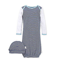 Burt's Bees Baby® 2-Piece Striped Organic Cotton Gown and Cap Set in Navy