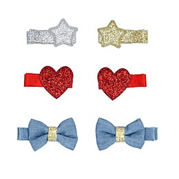 carters® 6-Pack Hearts, Bows and Stars Mini Hair Bow Clips