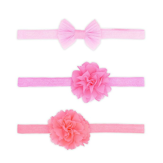 Alternate image 1 for carters® 3-Pack Flower and Bow Headwraps in Pink
