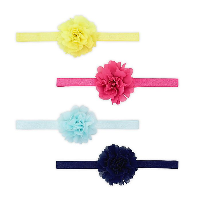 Alternate image 1 for carter's® Size 0-12M 4-Pack Bright Plume Headbands