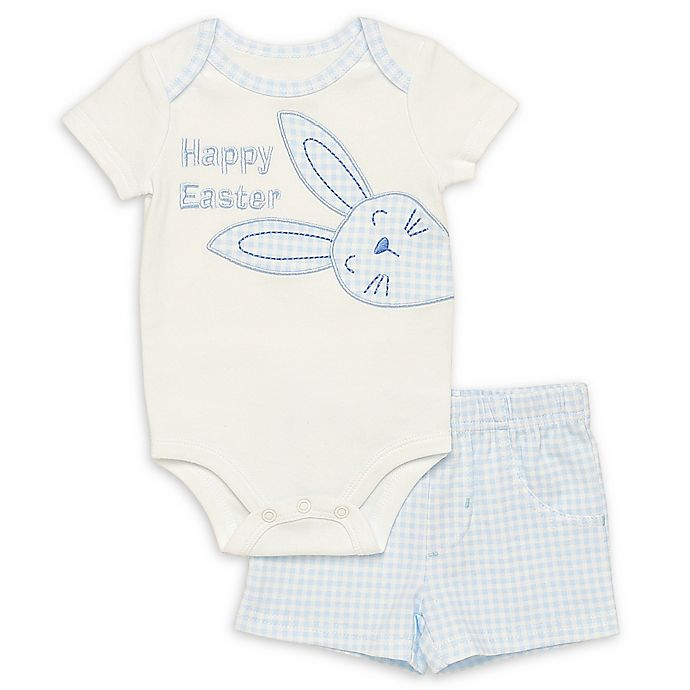 Alternate image 1 for Baby Starters® Happy Easter 2-Piece Bodysuit and Short Set in Blue Gingham