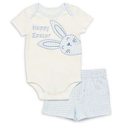 Baby Starters® Newborn Happy Easter 2-Piece Bodysuit and Short Set in Blue Gingham