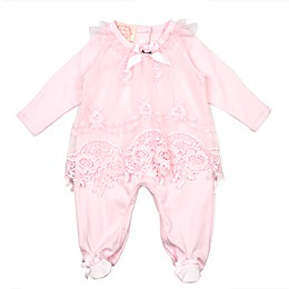 Baby Biscotti Lace Overlay Footie in Pink