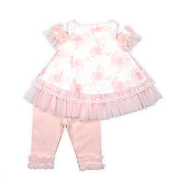 Baby Biscotti Size 3M 2-Piece Cold Shoulder Top and Pant Set in Peach