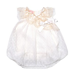 Baby Biscotti Mini Pleat Clip Dot Bubble Romper in Ivory