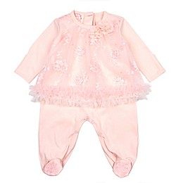 Baby Biscotti Irridescent Embroidered Footie in Peach