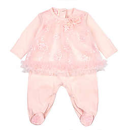 Baby Biscotti Size 3M Irridescent Embroidered Footie in Peach