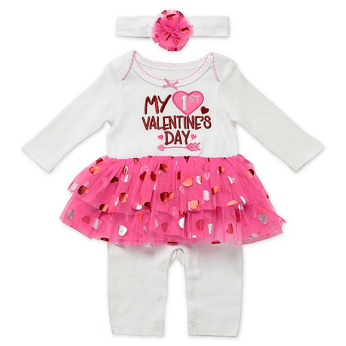 Alternate image 1 for Baby Starters® 2-Piece Skirted Coverall and Headband Set in White