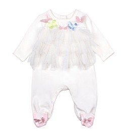 Baby Biscotti Butterfly Footie in White