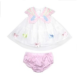 Baby Biscotti Butterfly Dress with Diaper Cover in White