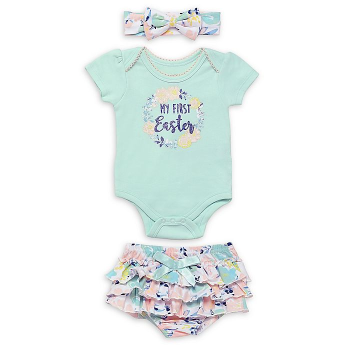 Alternate image 1 for Baby Starters® 3-Piece My First Easter Body Suit Set in Green