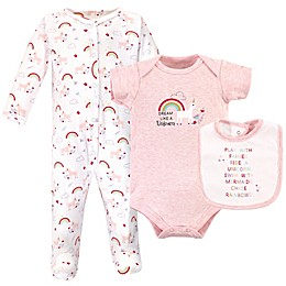 Luvable Friends® 3-Piece Unicorn Sleep and Play Footie, Bodysuit, and Bib Set
