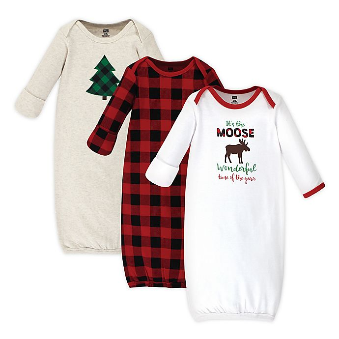 Alternate image 1 for Hudson Baby® Size 0-6M 3-Pack Moose Wonderful Time Sleep Gowns