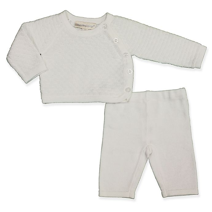 Alternate image 1 for Clasix Beginnings™ by Miniclasix® Preemie 2-Piece Knit Top and Sweater Set in White
