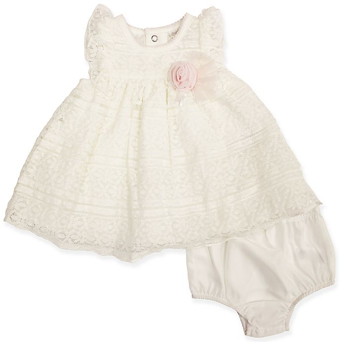 Alternate image 1 for Clasix Beginnings™ by Miniclasix® Lace Tiered Dress with Diaper Cover in Ivory