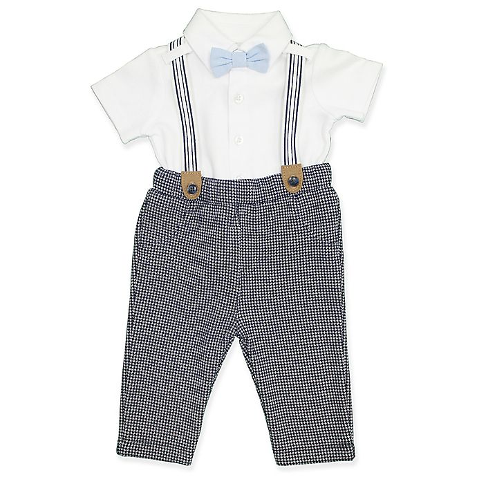 Alternate image 1 for Clasix Beginnings™ by Miniclasix® 3-Piece Houndstooth Shirt, Suspender and Pant Set