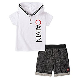 Calvin Klein 2-Piece Fleece Hoodie and Pant Set in White