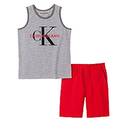 Calvin Klein® 2-Piece Tanktop Shirt and Short Set in Grey/Navy