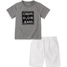 Calvin Klein 2-Piece Shirt and Short Set in Grey/White