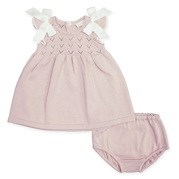 Alternate image 1 for Clasix Beginnings™ by Miniclasix® Preemie Pointelle Dress with Diaper Cover in Mauve