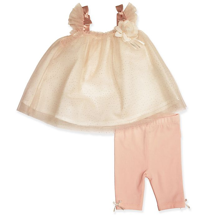 Alternate image 1 for Clasix Beginnings™ by Miniclasix® 2-Piece Netting Top and Pant Set in Peach