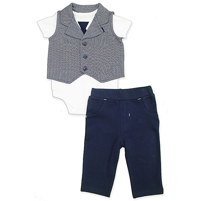 Alternate image 1 for Clasix Beginnings™ by Miniclasix® 3-PieceVest, Bodysuit and Pant Set in Navy