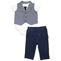 Clasix Beginnings™ by Miniclasix® 3-PieceVest, Bodysuit and Pant Set in Navy